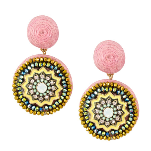 Hand Wrapped Sparkle Medallion Mexican Earrings - Pink