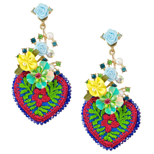 Crystal and Floral Embellished Embroidered Heart Earrings **GLOW STRONG ITEM**