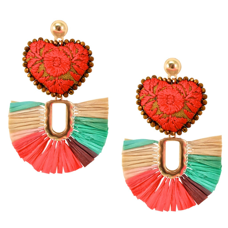 Embroidered Heart with Raffia Fan Mexican Earrings