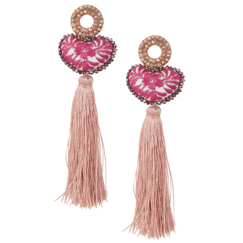 Rose and White Embroidered Heart with Tassel Mexican Earrings
