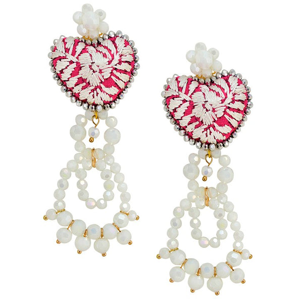 Red and White Embroidered Heart and Bead Earrings
