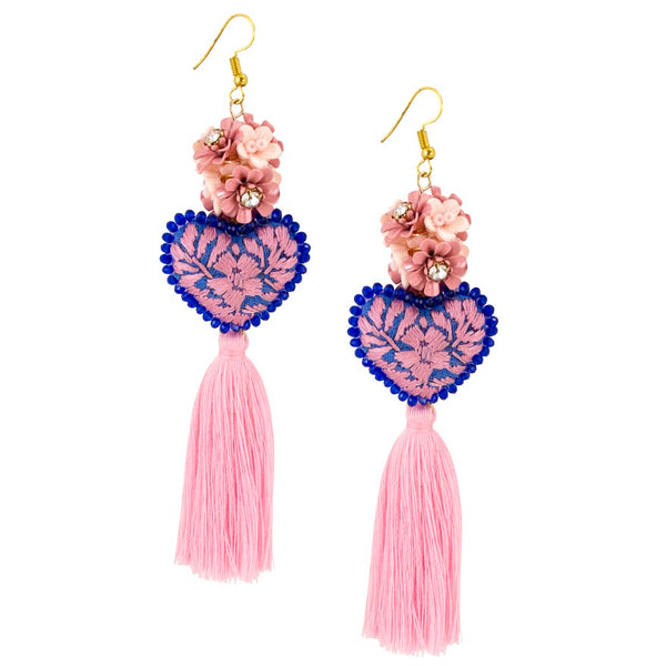 Pink Embroidered Heart Tassel Earrings