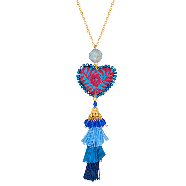 Embroidered Heart Mexican Drop Necklace - Purple and Turquoise Blue
