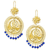 Mexican Filigree Earrings from Oaxaca - Royal Blue Bead Detail
