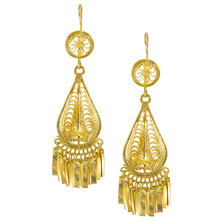 Unique Bayong Golden Chain Earrings by Satellite Paris