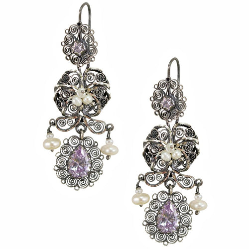 "Frida Kahlo Silver Filigree ""Jardin"" Earrings from Oaxaca - Light Purple Crystals"