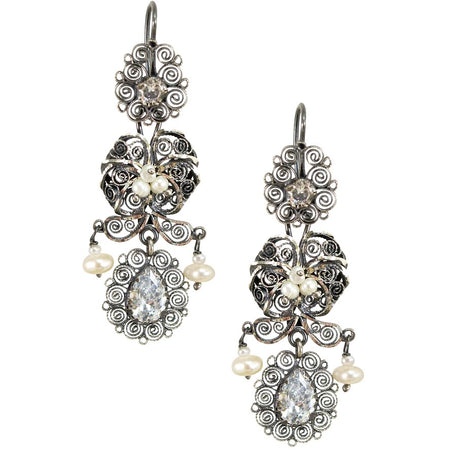Crystal Embellished Embroidered Heart Earrings