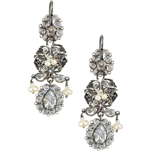 "Frida Kahlo Silver Filigree ""Jardin"" Earrings from Oaxaca - Sparkling Crystals"