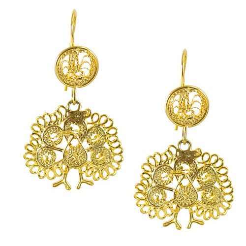 Filigree Earrings from Oaxaca - Peacocks Small