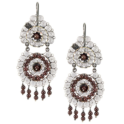 "Frida Kahlo Silver Filigree ""Dos Flores"" Earrings from Oaxaca"