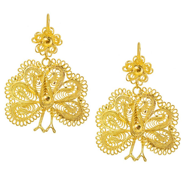 Mexican Filigree Earrings from Oaxaca - Peacocks