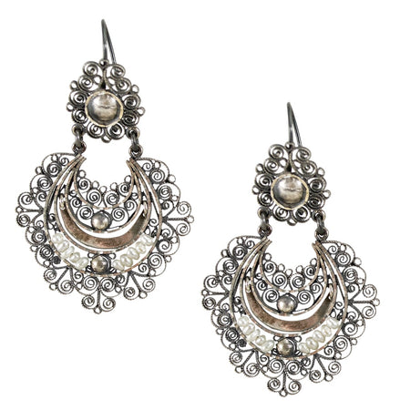 Flower Filigree Gold Plated Sterling Silver Post Earrings