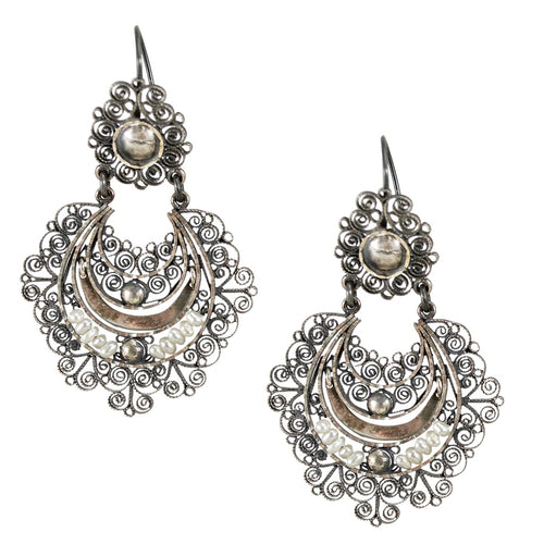 Sterling Silver Frida Kahlo Filigree Earrings with Seed Pearls