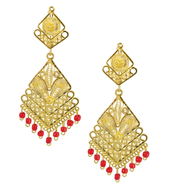 Mexican Filigree Earrings from Oaxaca - Coral Beads