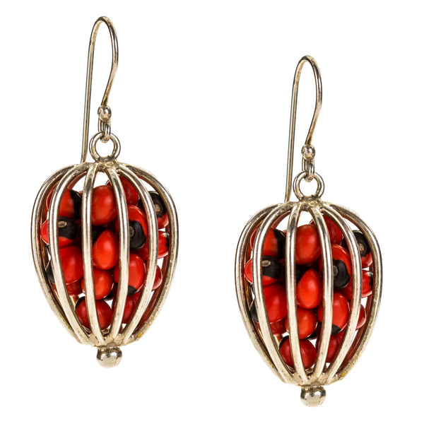 Sterling Silver Drop Ball Earrings with Tropical Seeds