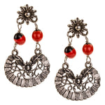 Sterling Silver Filigree Drop Earrings with Tropical Seeds