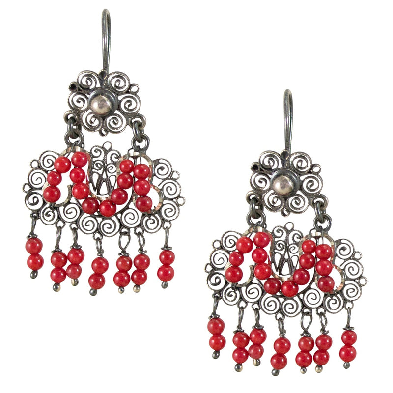 "Sterling Silver Frida Kahlo Filigree ""M"" Earrings with Coral Beads"