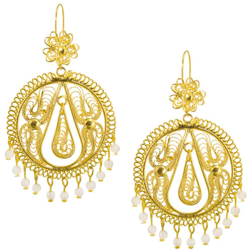 Mexican Filigree Earrings from Oaxaca - Moonstone Beads
