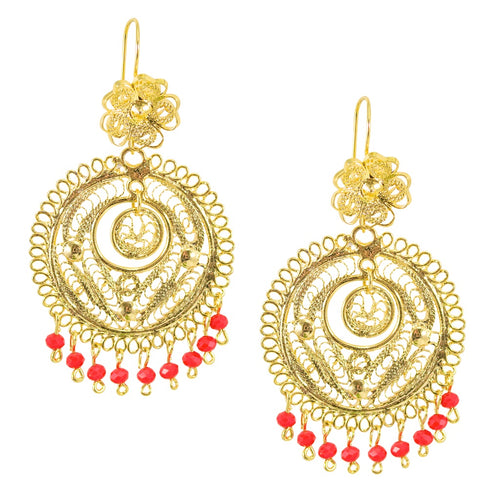 Mexican Filigree Earrings from Oaxaca - Orange Bead Detail