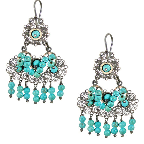 "Sterling Silver Frida Kahlo Filigree ""M"" Earrings with Turquoise Beads"