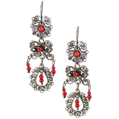 "Sterling Silver Frida Kahlo ""Jardin"" Filigree Earrings with Coral Beads"
