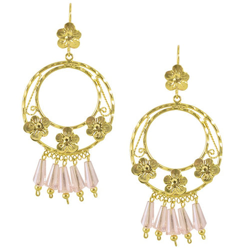 Mexican Filigree Earrings from Oaxaca - Light Pink Crystals