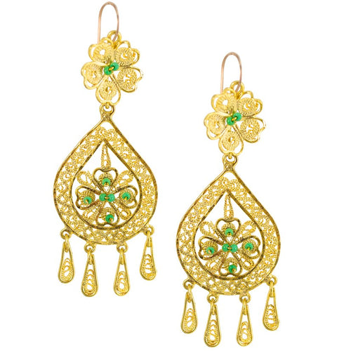Mexican Filigree Earrings from Oaxaca - Green Beads