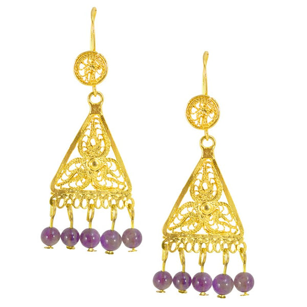 Mexican Filigree Earrings from Oaxaca - Amethyst Beads