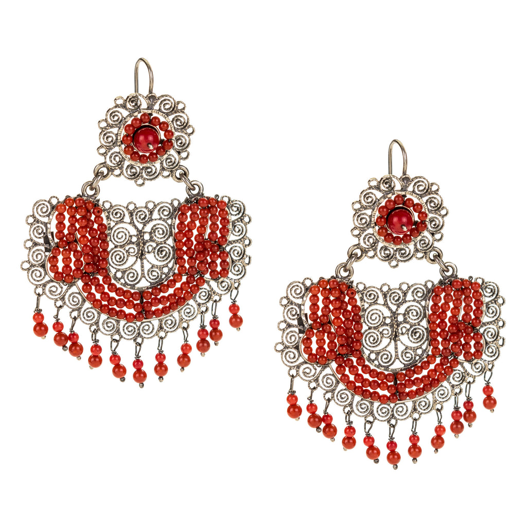 51402fc4a Sterling Silver Frida Kahlo Earrings with Coral – JJ Caprices