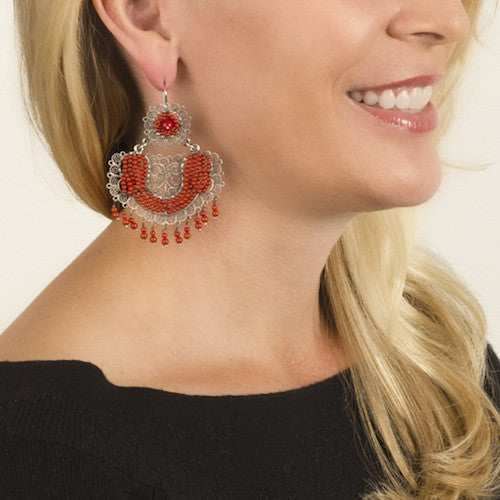Sterling Silver Frida Kahlo Earrings with Coral