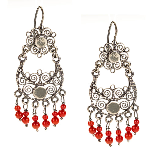 Sterling Silver Filigree Frida Kahlo Earrings with Coral