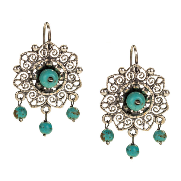 Sterling Silver Filigree Frida Kahlo Earrings with Turquoise