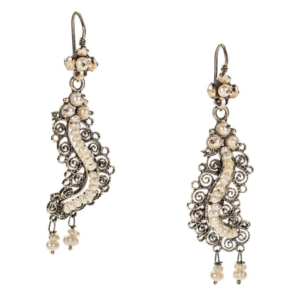 Sterling Silver Frida Kahlo Filigree Earrings with Pearls