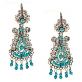 Sterling Silver Frida Kahlo Filigree Earrings with Turquoise