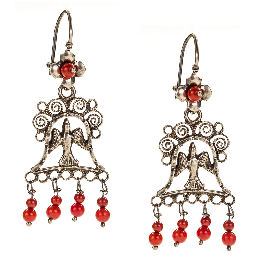 Sterling Silver Frida Kahlo Filigree Earrings with Bird and Bell