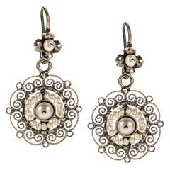 Sterling Silver Frida Kahlo Earrings with Pearls