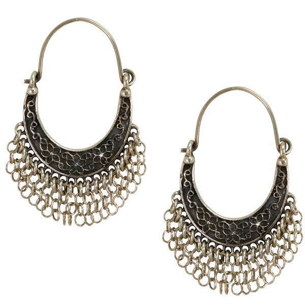 Silver Chain Arracadas Earrings from Taxco, Mexico