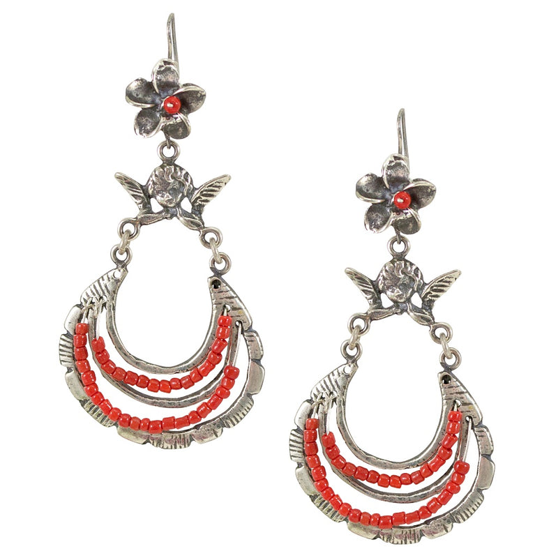 Red Coral Silver Drop Earrings