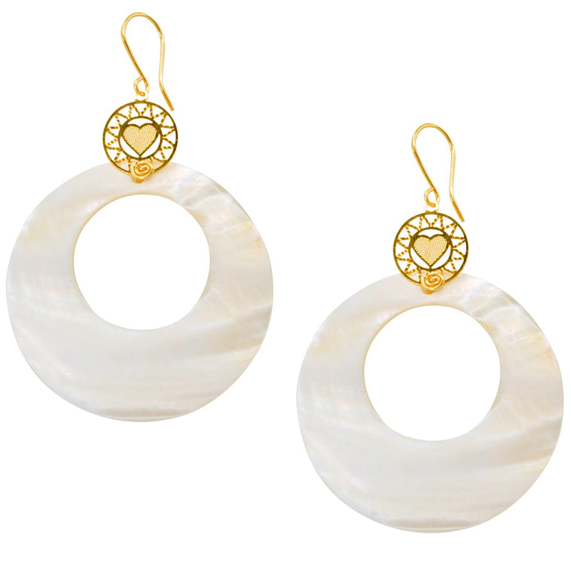 Statement Mother of Pearl Drop Pendant Earrings