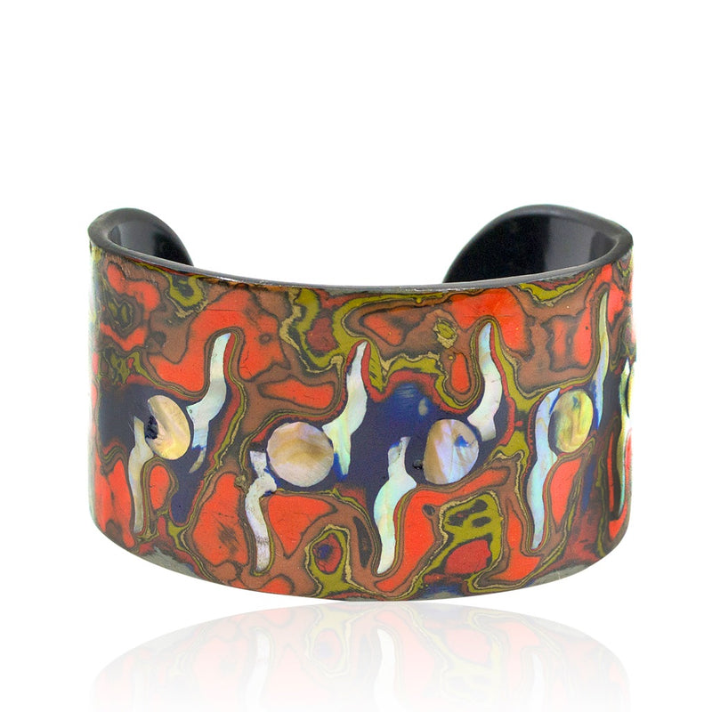 Mother of Pearl and Lacquer Cuff - Lunar