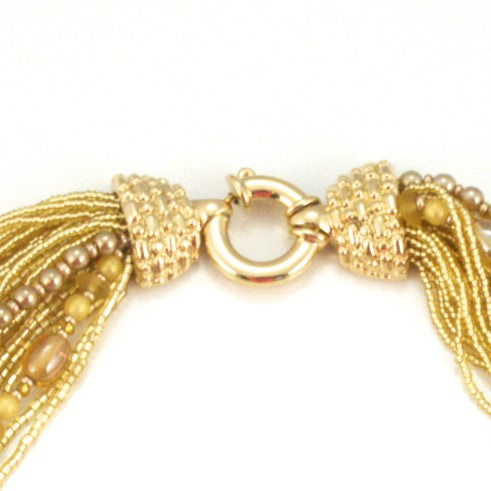 Murano Handblown Glass Bead Necklace - Gold