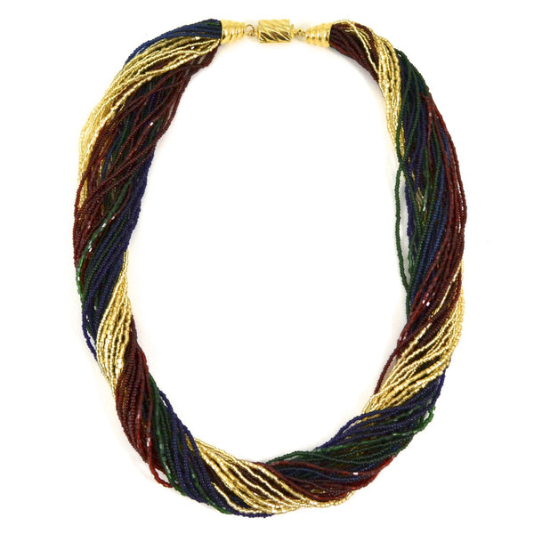 Murano Handblown Glass Bead Necklace - Burgundy, Green and Gold