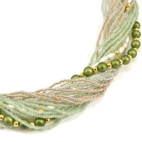 Murano Handblown Glass Bead Necklace - Soft Green