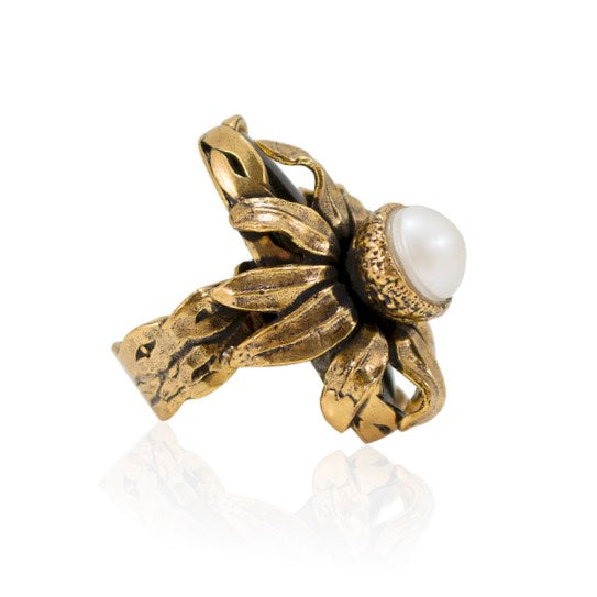 Onyx and Pearl Statement Ring - Adjustable