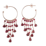 Cascading Mini Garnet Hoop Earrings