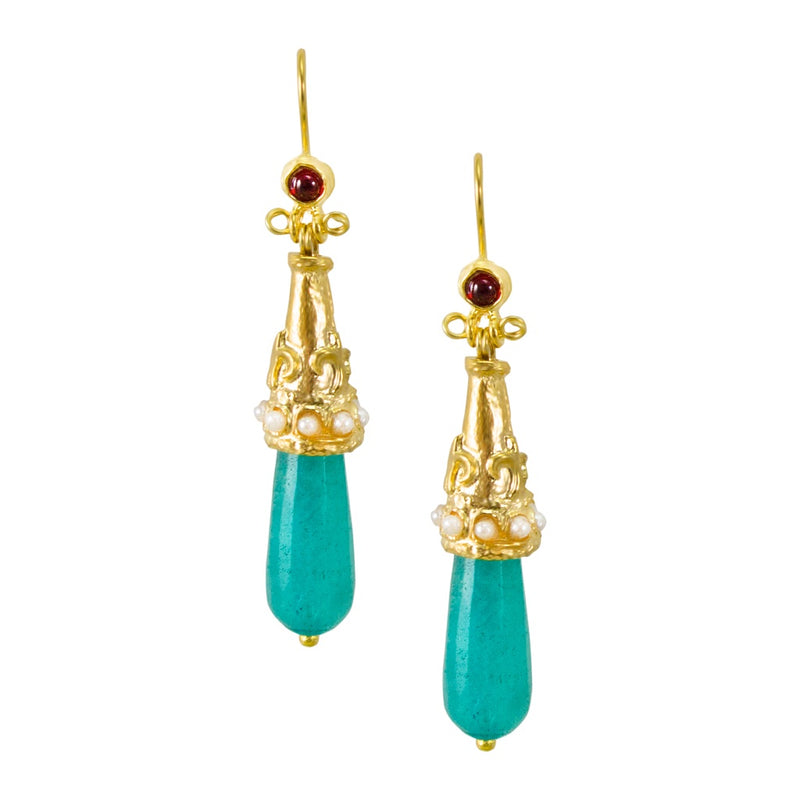 Ottoman Inspired Light Blue Drop Earrings
