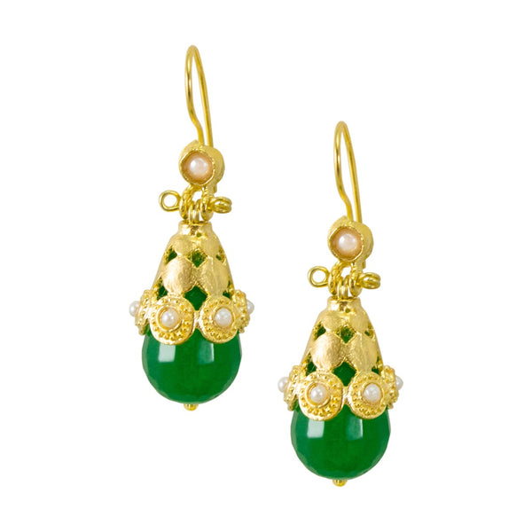 Ottoman Inspired Green Drop Earrings
