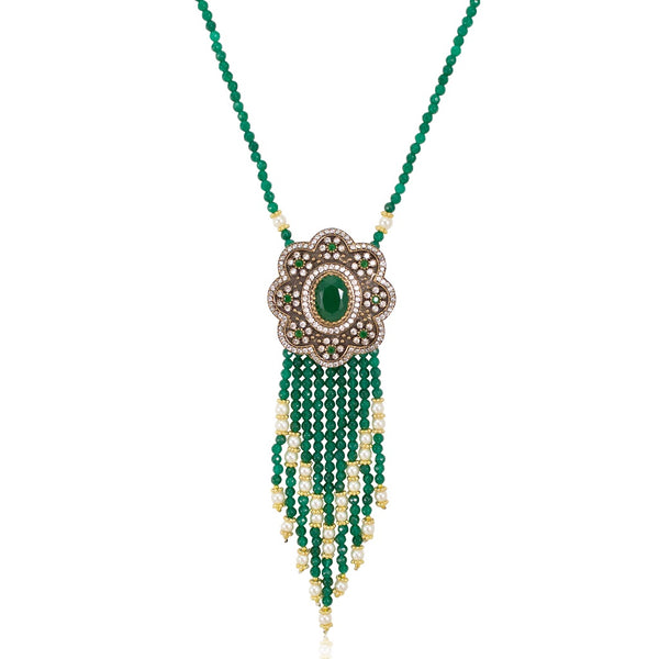 Long Vintage-Inspired Turkish Emerald Bead Tassel Necklace