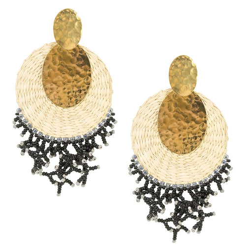 Natural Woven Palm and Bead Statement Earrings