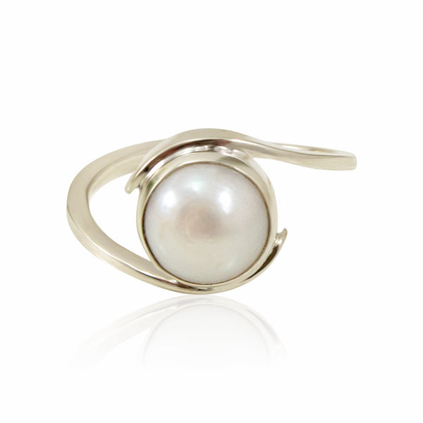 Pearl and Silver Ring from Taxco, Mexico - Size 7.5